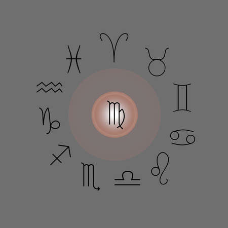 Astrological signs, Symbols of zodiac, horoscope, astrology and mystic signs vector illustration on a gray background