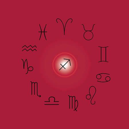 Astrological signs, Symbols of zodiac, horoscope, astrology and mystic signs vector illustration on a magenta background Иллюстрация