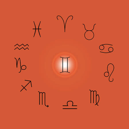 Astrological signs, Symbols of zodiac, horoscope, astrology and mystic signs vector illustration on a orange background Иллюстрация