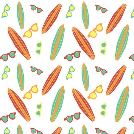Surfboard and sunglasses vector summer pattern