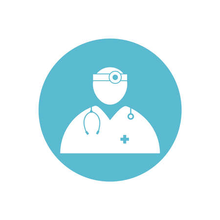 Doctor medical vector icon in blue