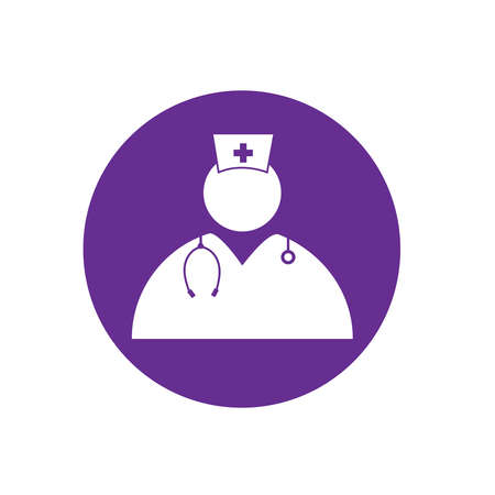 Nurse medical purple vector icon Фото со стока - 125976952