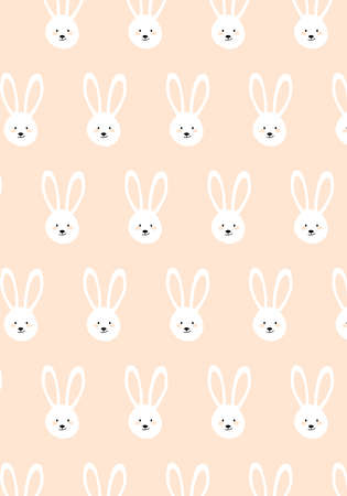 Pink bunny rabbit vector pattern baby card Фото со стока - 125977151