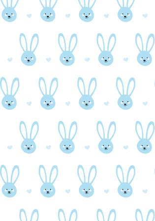 Blue bunny rabbit vector pattern baby card Иллюстрация
