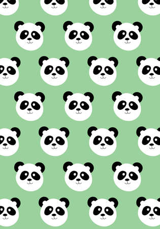Panda bear vector pattern on green background