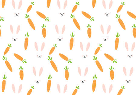 White bunny rabbit and carrot vector pattern