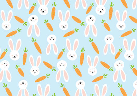 Carrots and rabbits vector illustration on a pastel blue background Иллюстрация
