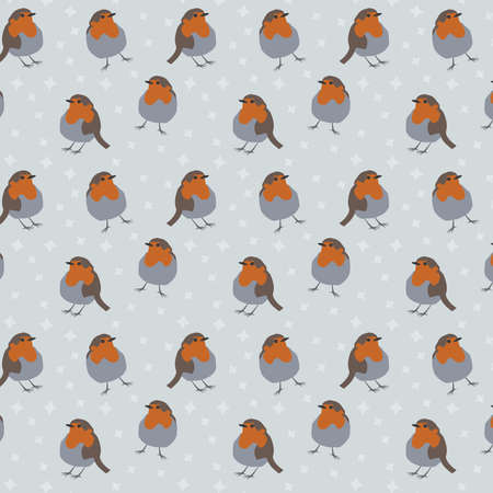Robin bird vector pattern with gray background and stars