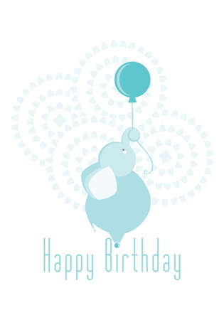 Happy birthday elephant vector illustration blue boy invitation Иллюстрация