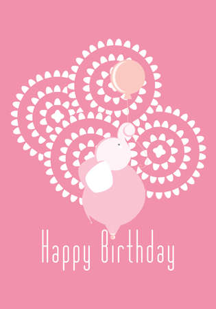 Happy birthday elephant vector illustration for girls in pink invitation