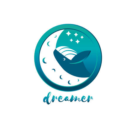Humpback whale jumping over the moon vector illustration