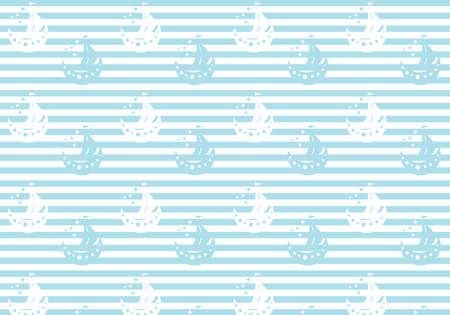 Pastel blue and white ships on a striped background kids birthday vector pattern Иллюстрация