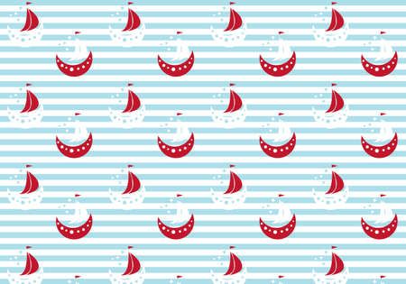 Red, White and blue boats on striped background vector illustration for wrapping paper idea Иллюстрация