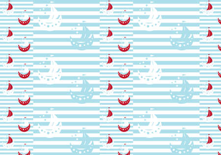 Wrapping paper boats for kids vector illustration