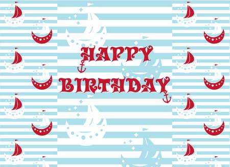 Alles Gute zum Geburtstag Geschenkpapier Schiffe in den Farben Rot, Blau und Weiß, abgestreifte Hintergrundvektorillustration Vektorgrafik