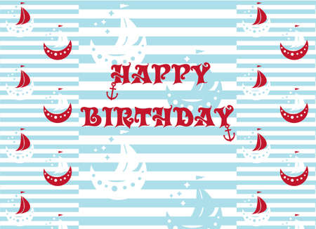 Happy birthday wrapping paper ships in color red, blue and white, stripped background vector illustration