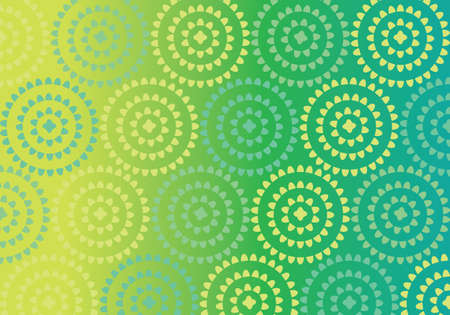 Yoga mat yellow and green circle vector pattern