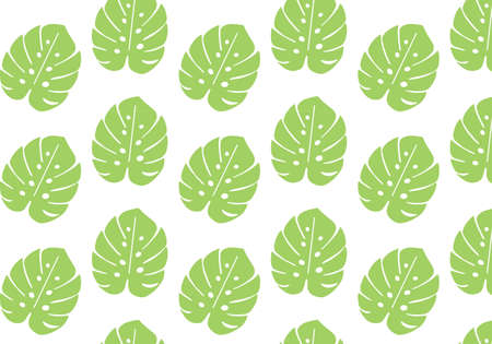 Monstera tropical leaf vector pattern in light green color palette Иллюстрация