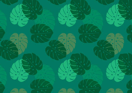 Monstera tropical leaf vector pattern in green color palette on a green background