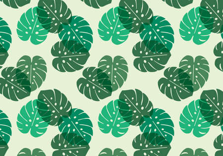 Monstera tropical leaf vector pattern in green color palette