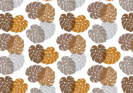 Monstera tropical leaf vector pattern in brown, orange, grey color palette