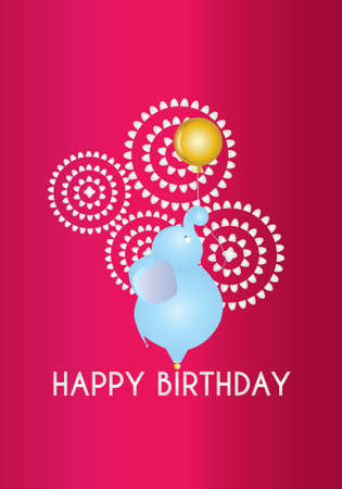 Happy Birthday elephant and a balloon vector card illustration in bright colors