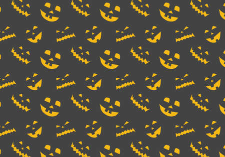 Halloween vector pattern in orange and gray with pumpkins silhouette