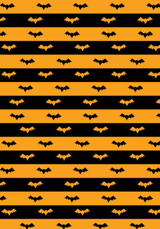 Halloween vector pattern orange and black stripes with bat silhouette Illusztráció