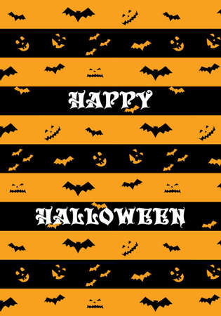 Happy Halloween vector pattern orange and black stripes with bat silhouette and pumpkins Иллюстрация