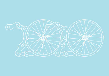 2020 Bicycle Happy New Year vector on pastel baby blue background