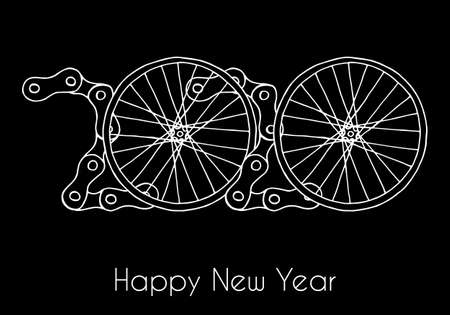 2020 Bicycle Happy New Year vector black background
