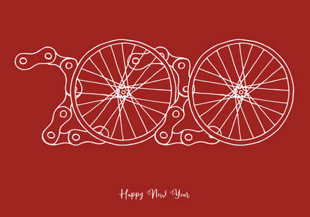 2020 Bicycle Happy New Year vector on red background