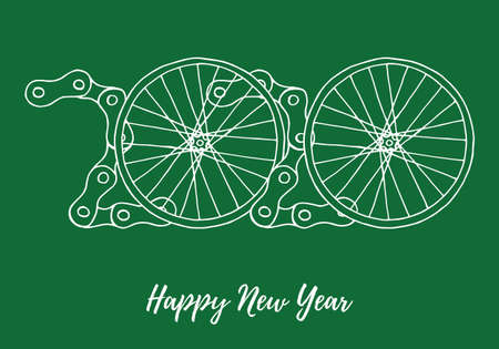 2020 Bicycle Happy New Year vector on green background