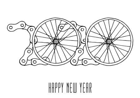 2020 Bicycle Happy New Year vector on white background