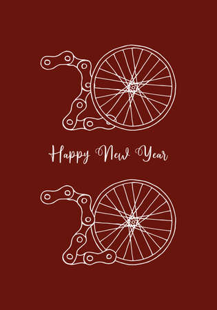 2020 Bicycle Happy New Year vector illustration on red background Фото со стока - 135008299