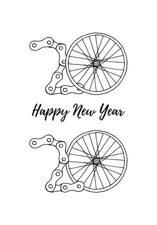 2020 Bicycle Happy New Year vector illustration on white background Фото со стока - 131191069