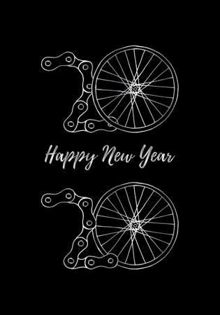 2020 Bicycle Happy New Year vector illustration on black background