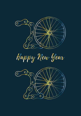 2020 Bicycle Happy New Year vector illustration on dark blue background