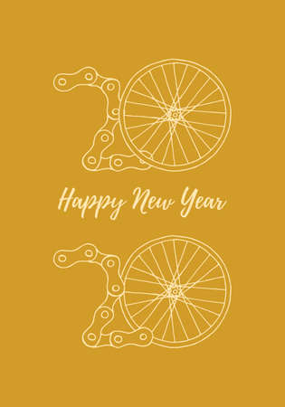 2020 Bicycle Happy New Year vector illustration on goldenyellow background