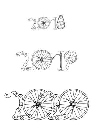 Good bye old years and welcome New 2020 Year vector illustration, bicycle