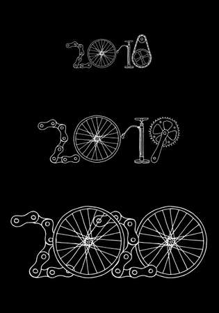 Good bye old years and welcome New 2020 Year vector illustration, bicycle on black background Фото со стока - 131660628