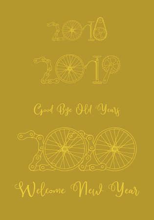 Good bye old years and welcome New 2020 Year vector illustration, bicycle in goldenyellow color palette