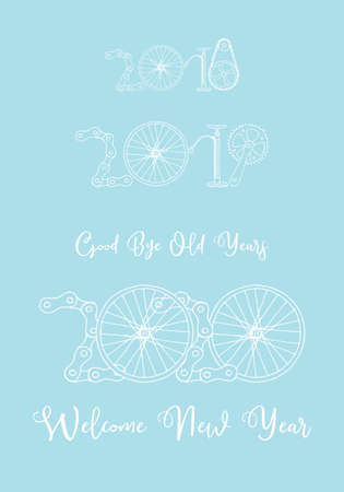 Good bye old years and welcome New 2020 Year vector illustration, bicycle in baby blue Иллюстрация