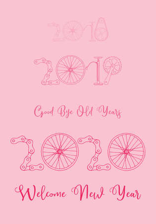 Good bye old years and welcome New 2020 Year vector illustration, bicycle in pastel pink palette Фото со стока - 131659157