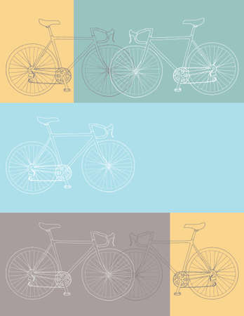 Vector invitationthank youevent card 8,5 x 11 in. bicycle template in yellow, blue and gray colors palette Иллюстрация