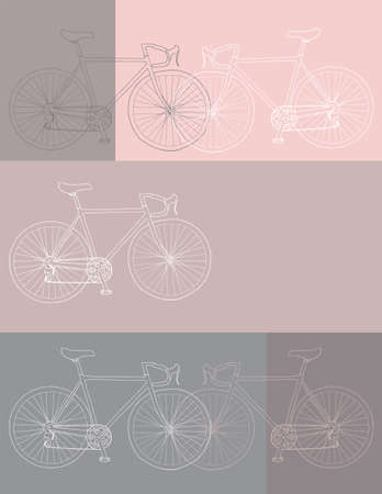 Vector invitation/thank you/event card 8,5 x 11 in. bicycle template in white, pink and gray colors palette Фото со стока - 135008311