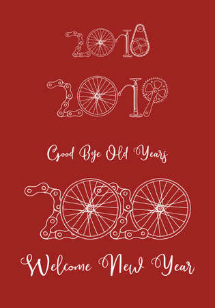 Good bye old years and welcome New 2020 Year vector illustration, bicycle in red