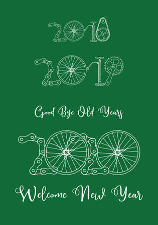 Good bye old years and welcome New 2020 Year vector illustration, bicycle on green background
