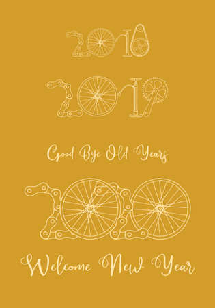 Good bye old years and welcome New 2020 Year vector card, bicycle in goldenyellow color palette Иллюстрация