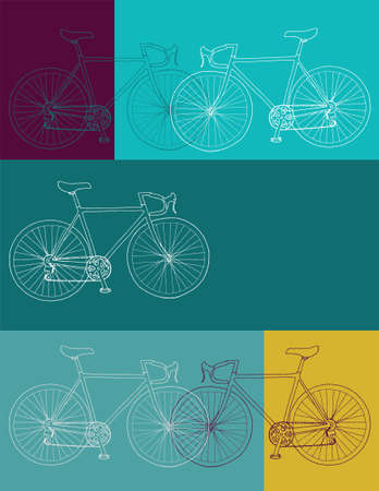 Bicycle invitationthank youevent vector 8,5 x 11 in bicycle card template in yellow, blue and purple colors palette